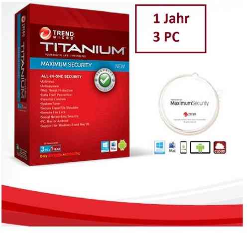 Trend Micro Titanium Maximum Internet Security 2015 für 3 PC / 1 Jahr DEUTSCH